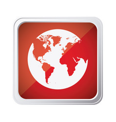 Red emblem earth planet icon vector