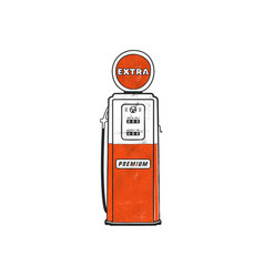 Retro style gas station pump artwork vintage hand vector