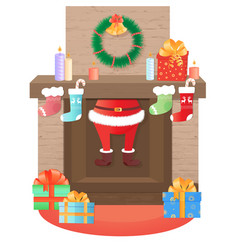 Santa claus climbs out of the fireplace christmas vector