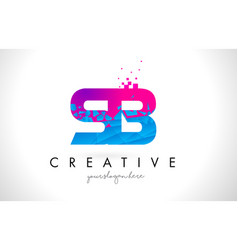 Sb s b letter logo with shattered broken blue vector