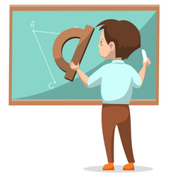 schoolboy drawing on blackboard with chalk vector image