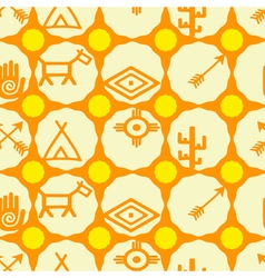 seamless background with native american symbols vector image
