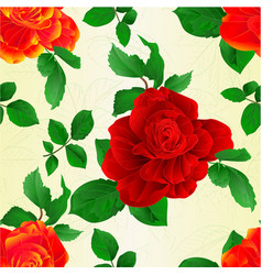 seamless texture stem flower red and orange roses vector image
