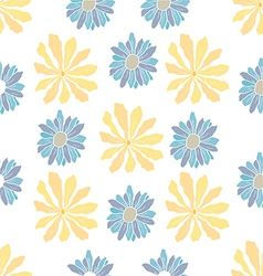Seamless yellow flowers pattern vector image