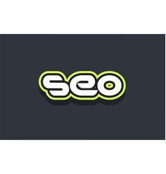Seo word text logo design green blue white vector