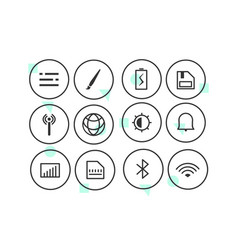 set linear icons 01 vector image