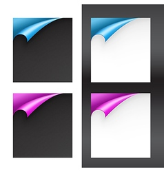Set of Black and White Papers with Bent Corners vector image