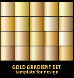 set of gold gradients for your design stock vector image