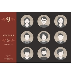 Set of People Avatar in Style Flat Design vector image
