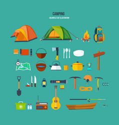 Set of tourist camping backpackers climbers vector