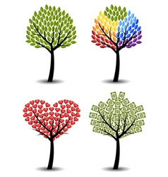 Set of trees Eco rainbow hearts money Concept vector image