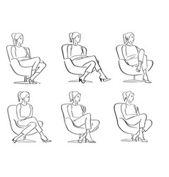 Set young women sitting in a closed pose vector