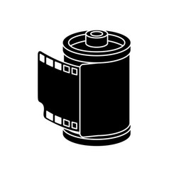 Silhouette roll camera nineties retro isolated vector
