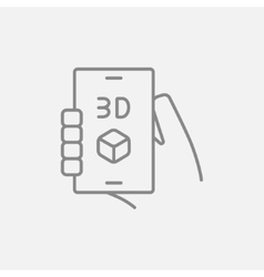 Smartphone with three D box line icon vector image