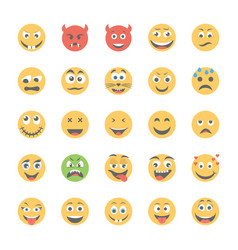 Smiley flat icons set 6 vector