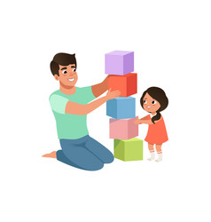 Smiling dad playing cubes with his daughter vector