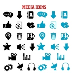 Social media black and blue flat icons set vector image