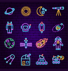 Space sign neon icons vector