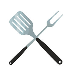spatula barbecue fork logo for barbecue party vector image