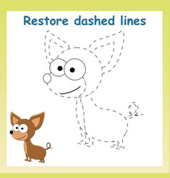 Trace game for children cartoon chihuahua vector