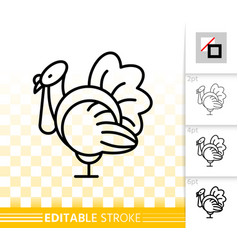 turkey simple black line thanksgiving icon vector image