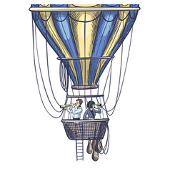 two people with spyglasses in air balloon basket vector image