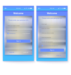 ui of mobile app with metal background page of vector image