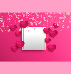 valentines day card template of pink hearts vector image