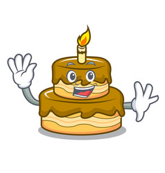 Waving birthday cake character cartoon vector