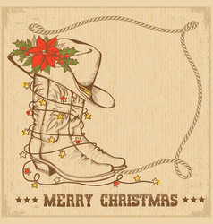 Western christmas greeting card with cowboy vector