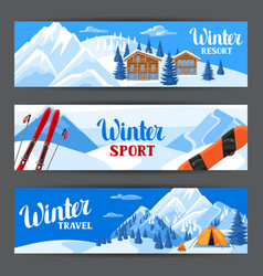 winter ski resort banners beautiful landscape vector image
