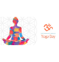 Yoga day banner abstract woman in lotus pose vector