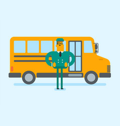Young caucasian white school bus driver vector