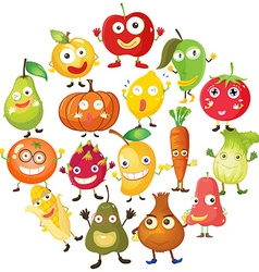 Fruits and vegetables with face vector image vector image