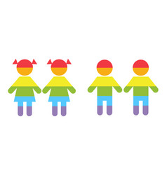 gay family lgbt rights raibow icons white vector image