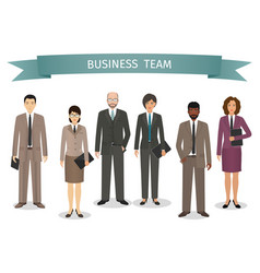 group of business men and women standing together vector image vector image