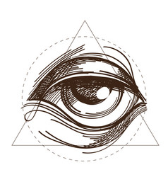 hand drawn sketch eye of providence all seeing vector image