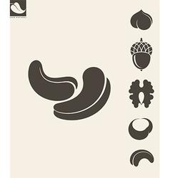 Nuts Icon set Hazelnut Cashews Walnut vector image vector image