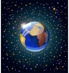 Space with earth and stars vector image