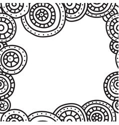 square frame of circles with black outline on vector image