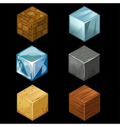 3D Game block Isometric Cubes Set elements vector image