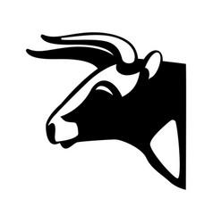 bull head black silhouette realistic icon vector image