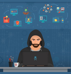 hacker man hacking secret data on the laptop icon vector image vector image