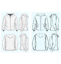 Mens hooded sweatshirt with zipper vector image