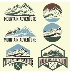 set of vintage labels mountain adventure vector image vector image