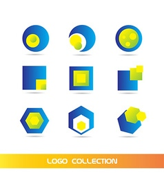 Blue yellow logo elements icon set collection vector image