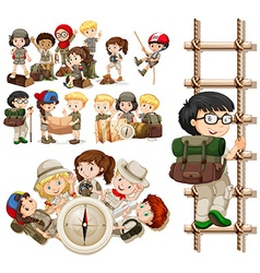 Children doing different activities for hiking vector image vector image