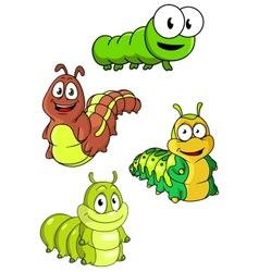 Cute colorful cartoon caterpillars characters vector image