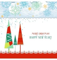 Christmas trees card in traditional colors over vector image vector image