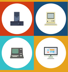 Flat icon laptop set of technology display vector
